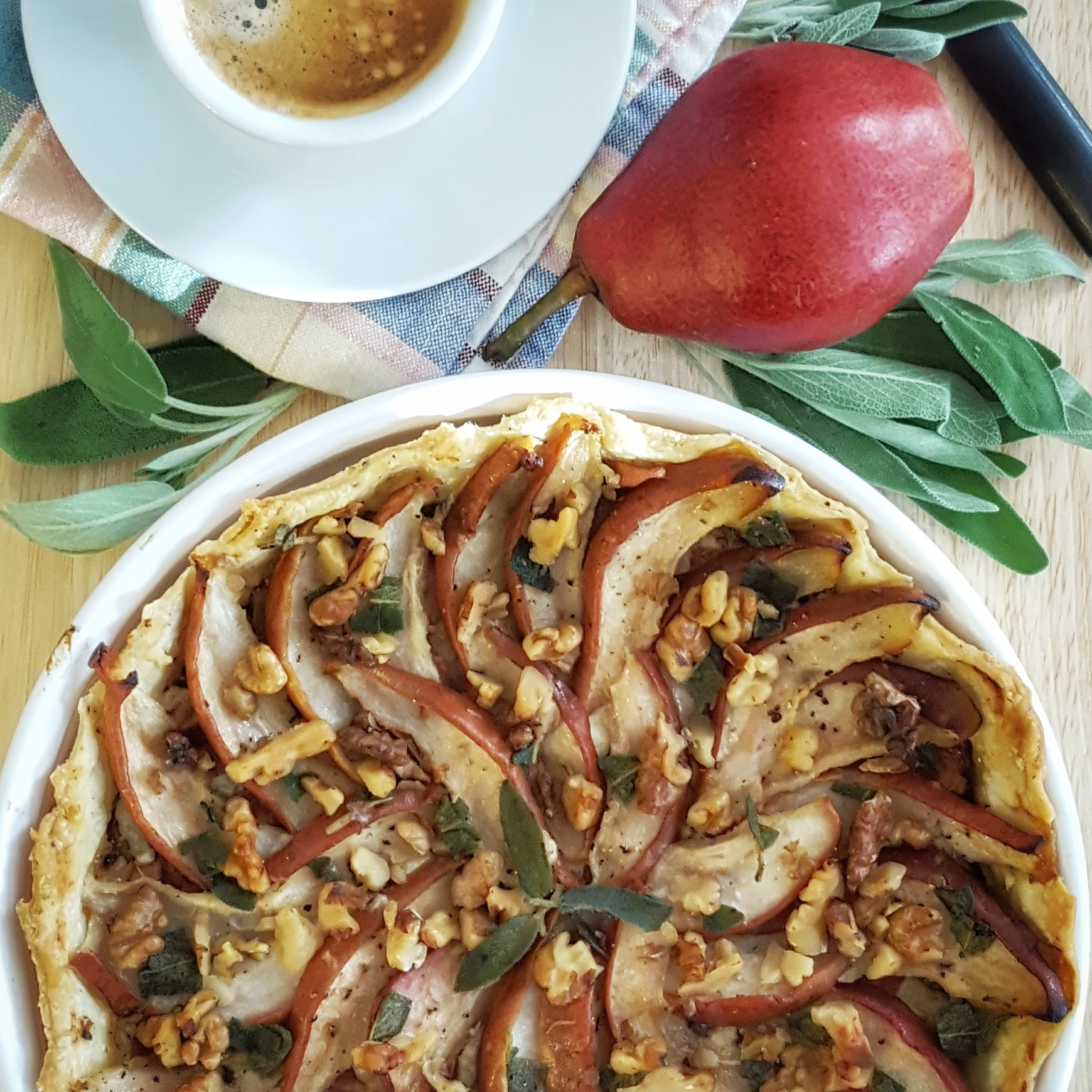 Easy Savory Pear and Blue Cheese Tart with Caramelized Onions, Prosciutto and Sage