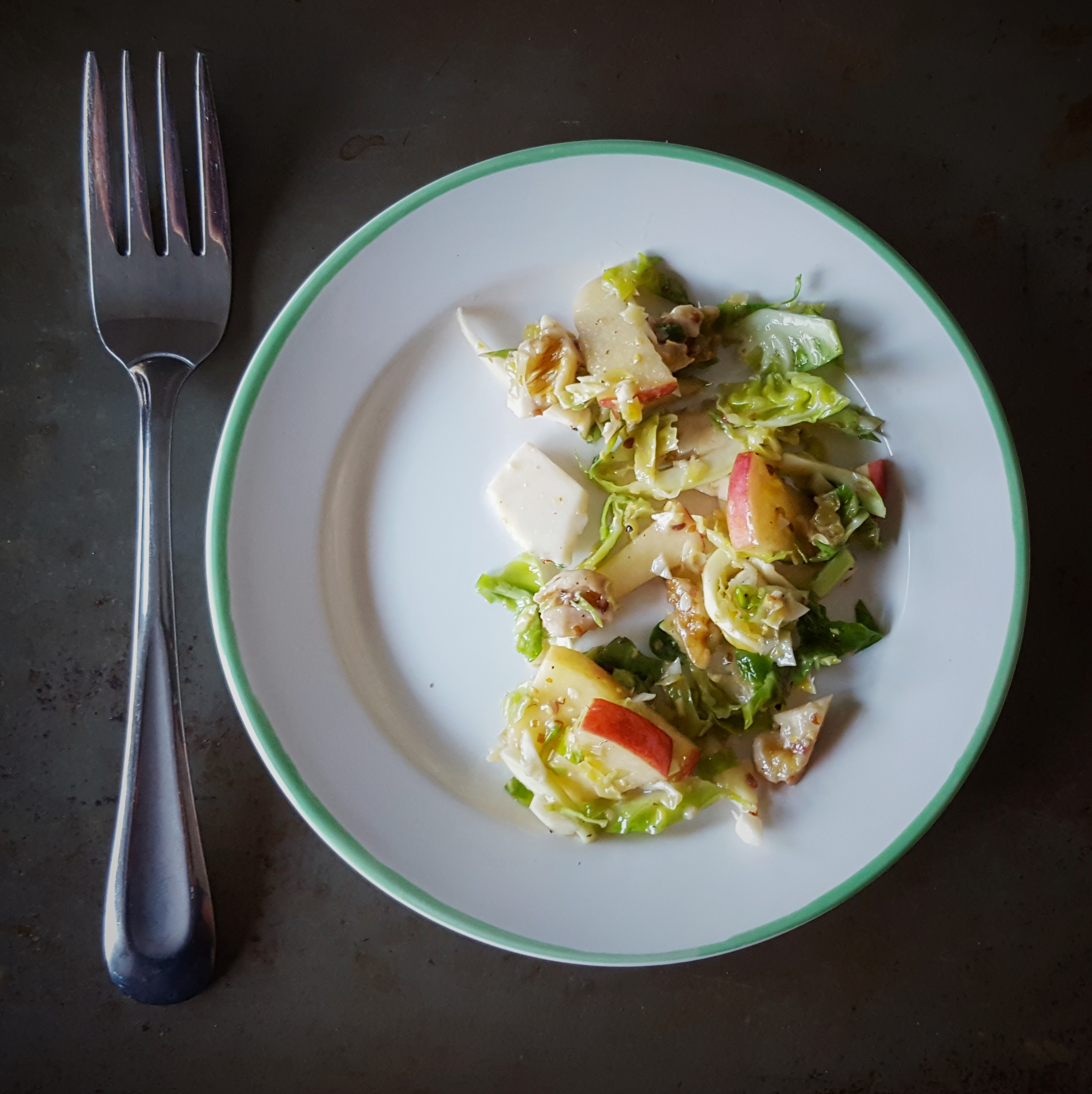 Brussels Sprout, Apple and Walnut Salad