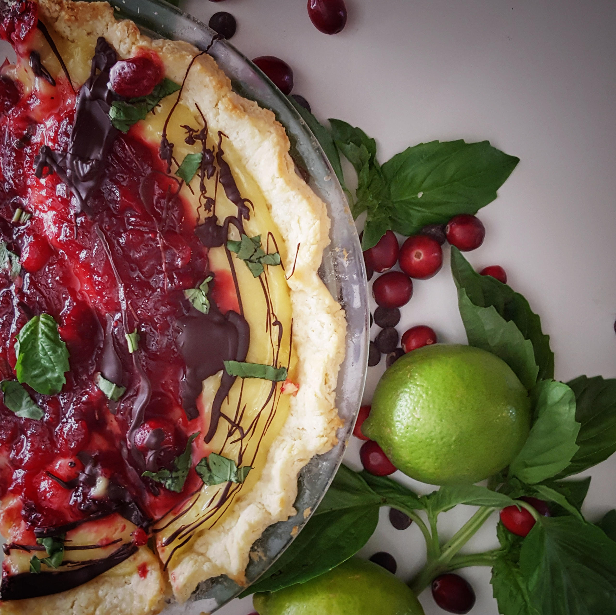 Basil-Infused Lime Curd Tart Topped Cranberry Orange Compote