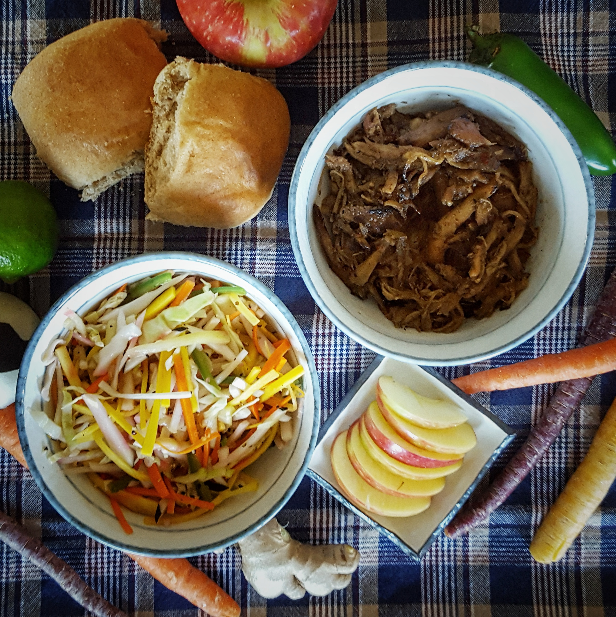 Simply Sophisticated Cooking | Slowed Cooked Chinese Five Spice Shredded Chicken Sliders with Apple Slices and Carrot, Black Radish and Jalapeno Slaw