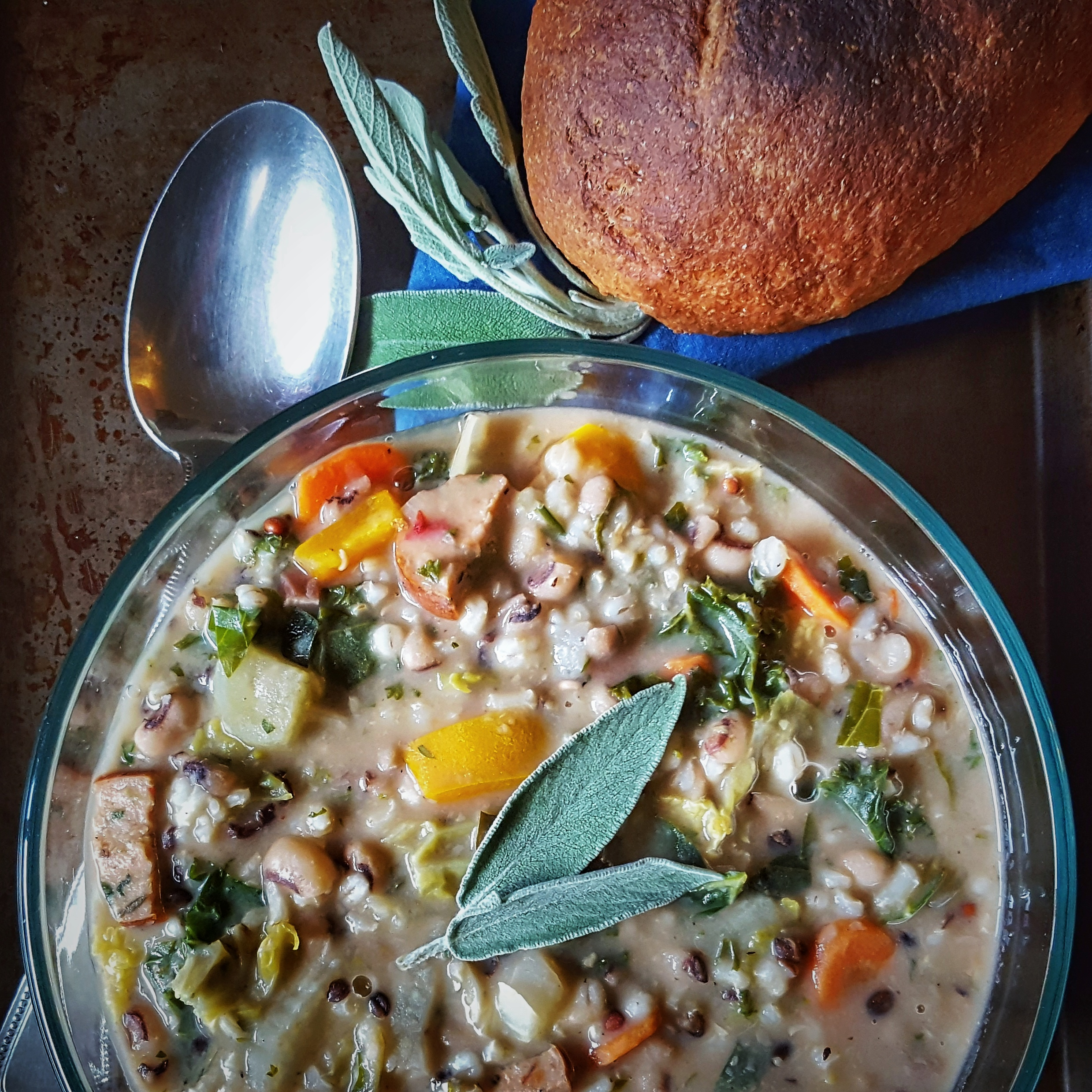 Black-Eyed Pea, Sausage, Greens and Wild Rice Soup | Simply Sophisticated Cooking